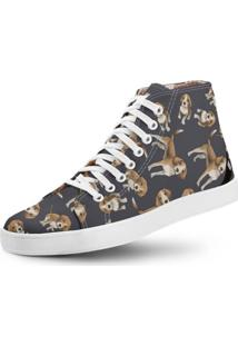 Tênis Cano Alto Usthemp Long Vegano Dog Beagle Azul Marinho