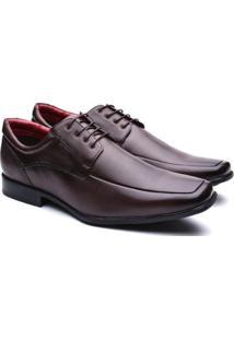 Sapato Social Manutt Couro Bico Quadrado Masculino - Masculino-Marrom