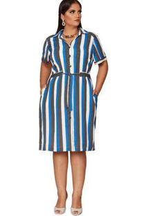 Vestido Almaria Plus Size Pianeta Estampado Azul/Preto Azul