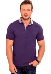 Camiseta Polo Azul Marinho Com Maquinetado Vermelho E Cinza - Masculino