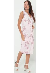 Vestido Floral Transpassado - Rosa Claro & Cinza- Enenna