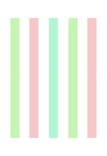 Papel Adesivo Sunset Adesivos De Parede Listras Verde, Rosa E Azul Bebê - Rolo 6,00 X0,50 M