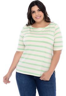 Blusa Plus Size Prelúdio Off-White E Listras Verdes