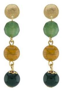 Brinco Barbara Strauss Calitéia Em Resina Lalique Revestido Em Ouro 18K - Feminino-Dourado