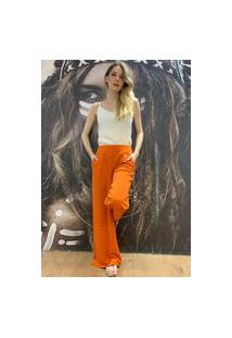 Calça Pantalona Amazonia Vital Malha Com Bolso Laranja