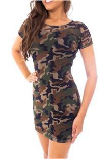 Vestido Moda Vicio Manga Curta De Tule Feminino - Feminino-Verde Militar