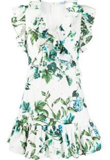 Blumarine Vestido Com Babados E Estampa Floral - Branco