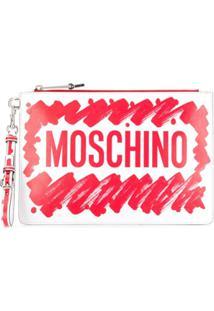 Moschino Clutch Com Logo - Vermelho