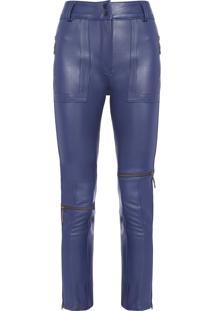 Calça Feminina Bolsos Irregulares - Azul Marinho