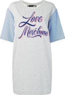 Love Moschino Vestido Com Logo - Cinza