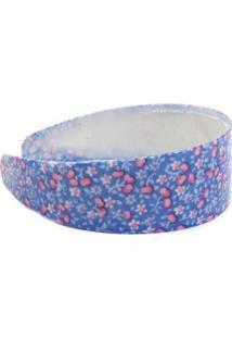 Tiara Larga Bijoulux Com Florzinhas - Feminino-Azul