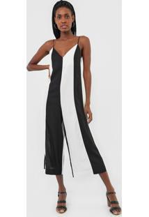 Macacão Dress To Pantacourt Color Block Preto/Off-White - Kanui