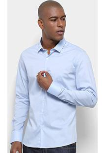 Camisa Calvin Klein Slim Fit Lisa Stretch Masculina - Masculino-Azul