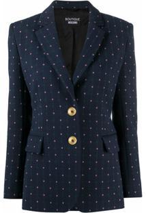 Boutique Moschino Blazer Com Bordado Floral E Abotoamento Simples - Azul