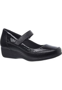 Sapato Conforto Anabela Couro Doctor Shoes Fiminino - Feminino-Preto