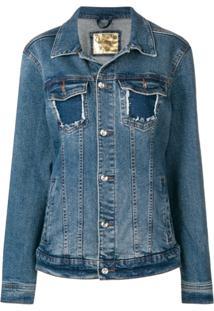 Loulou Jaqueta Jeans Com Aplicações De Correntes - Azul