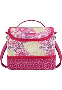 Bolsa Térmica Com 2 Compartimentos- Pink & Bege Claro