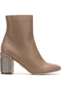 Rodo Ankle Boot De Couro - Neutro