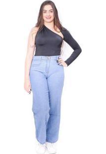 Calça Jeans Feminina Wide Leg Cintura Alta Denim A