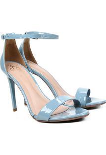 Sandália Ala Salto Fino Verniz Feminina - Feminino-Azul Claro