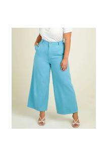 Calça Plus Size Feminina Jeans Pantacourt Wide Leg