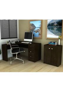 Conjunto Escritório Tecno Mobili Escrivaninha Me4101 + Balcão Me4103 – Tabaco