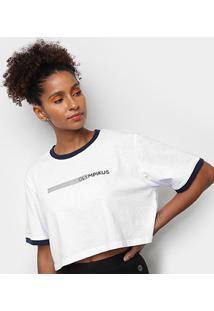 Camiseta Olympikus Oversized Print Manga Curta Feminina - Feminino-Branco+Marinho
