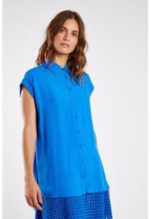 Camisa Crepe Angel Sacada Feminina - Feminino-Azul