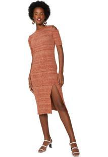 Vestido Tricot Midi Com Recorte Ombro E Fenda