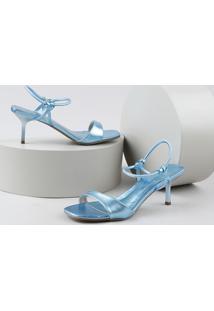 Sandália Feminina Oneself Salto Fino Médio Metalizada Azul Claro