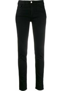 Emporio Armani Calça Jeans Skinny Cintura Baixa Com Patch De Logo - Preto