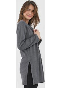 Cardigan Facinelli By Mooncity Tricot Fendas Cinza