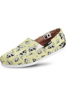 Alpargata Usthemp Slim Vegano Casual Estampa Vaca Off-White