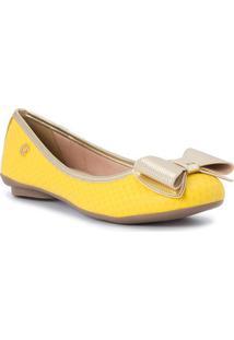 Sapatilha Em Couro Com Laã§O- Amarela & Douradacarmen Steffens