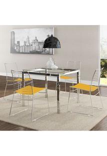 Mesas 326 Vidro Incolor Cromada Com 4 Cadeiras 1712 Amarela Carraro