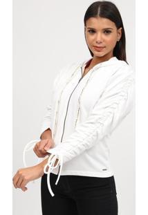 Jaqueta Lisa Em Moletinho Com Franzidos- Branca- Tritriton