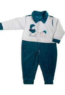 Macacão Longo Bebê Piftpaft Plush Enxoval Inverno Masculino - Masculino