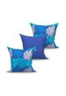 Conjunto De Capas Para Almofada Com 3 Peças Valence Texturizada Azul 45X45 Cm