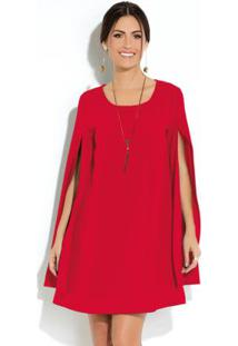 Vestido Clássico Vermelho Manga Capa Ampla