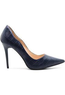 Scarpin Royalz Croco Penélope Curvas Feminina - Feminino-Azul Escuro