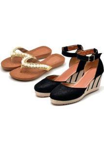 Kit Sandália Anabela + Chinelo Ousy Shoes Feminino - Feminino-Preto+Branco