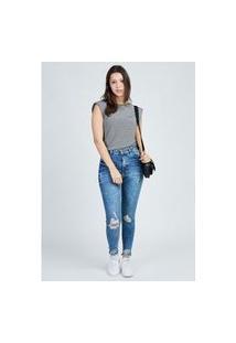 Calça Jeans Cigarrete Marmo Puídos Azul Médio Gang Feminino