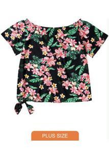 Blusa Preta Ciganinha Floral