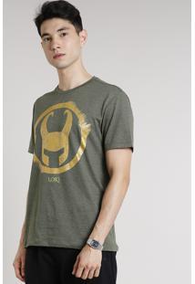 Camiseta Masculina Loki Manga Curta Gola Careca Verde Militar