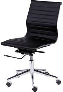 Cadeira Office Eames Esteirinha- Preta & Prateada- 9Or Design