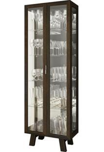 Cristaleira Com Portas E Laterais De Vidro Tecno Mobili - Tabaco - Multistock