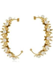 Argola Aberta Le Diamond Flores E Pérolas - Feminino-Dourado