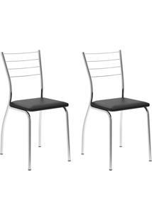 Conjunto Com 2 Cadeiras Lucineia Preto E Cromado