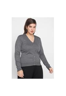 Cardigan Tricot Facinelli By Mooncity Liso Cinza