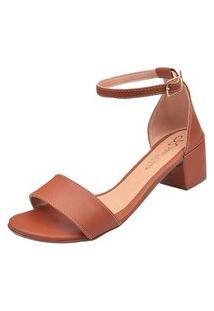 Sandália Salto Grosso Rosa Chic Calçados Duquesa Sandália Bloco Clássica Caramelo
